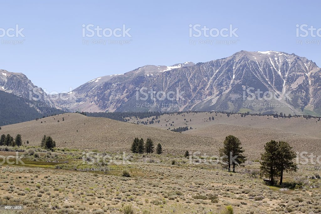 Sierra Nevada mountains with little snow royalty-free stock photo