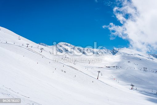 Wide view of part of the Borreguiles ski area in the Sierra Nevada, Spain