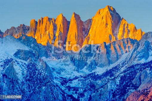 Mount Whitney and the Sierra Nevada Range seen from the Alabama Hills area and the Sierra Nevada countryside in the state of California