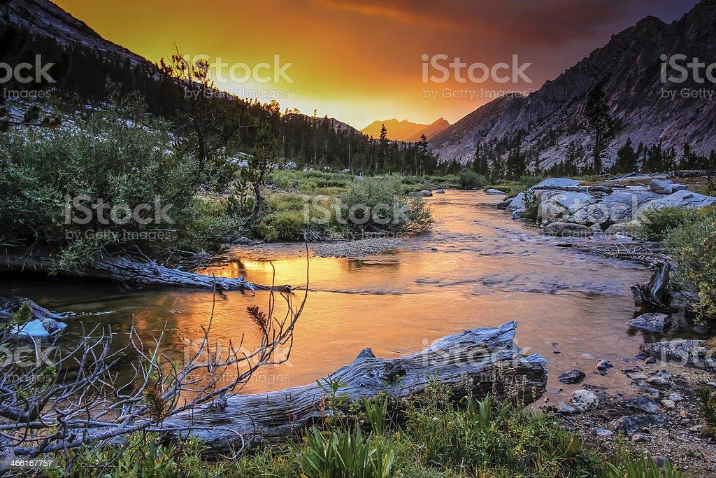 Sierra Nevada Sunset on Bubbs Creek stock photo