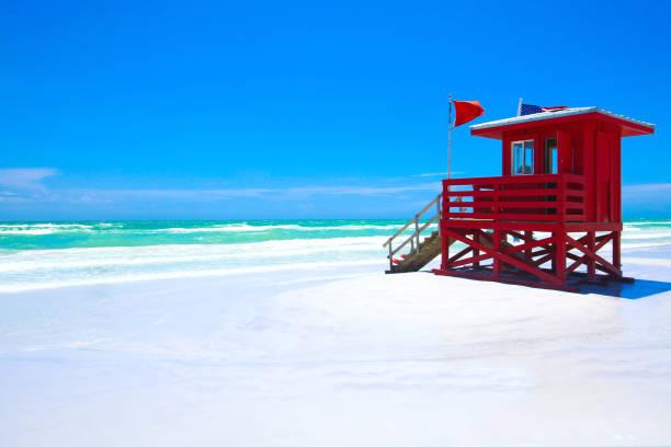 siesta key beach florida - badvaktshytt bildbanksfoton och bilder