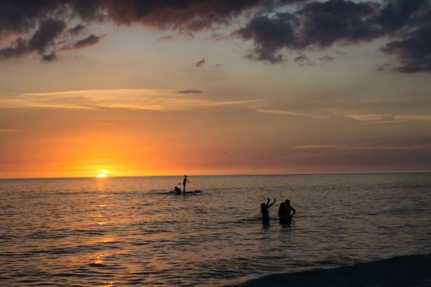 Siesta Key Beach in Sarasota, Florida at sunset stock photo