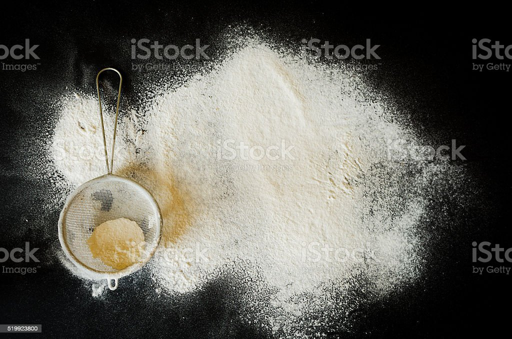 sieve and a flour stock photo