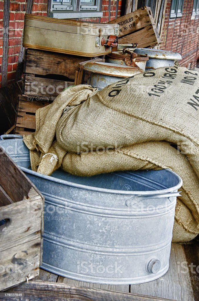 Sieve and grain bags - HDR royalty-free stock photo