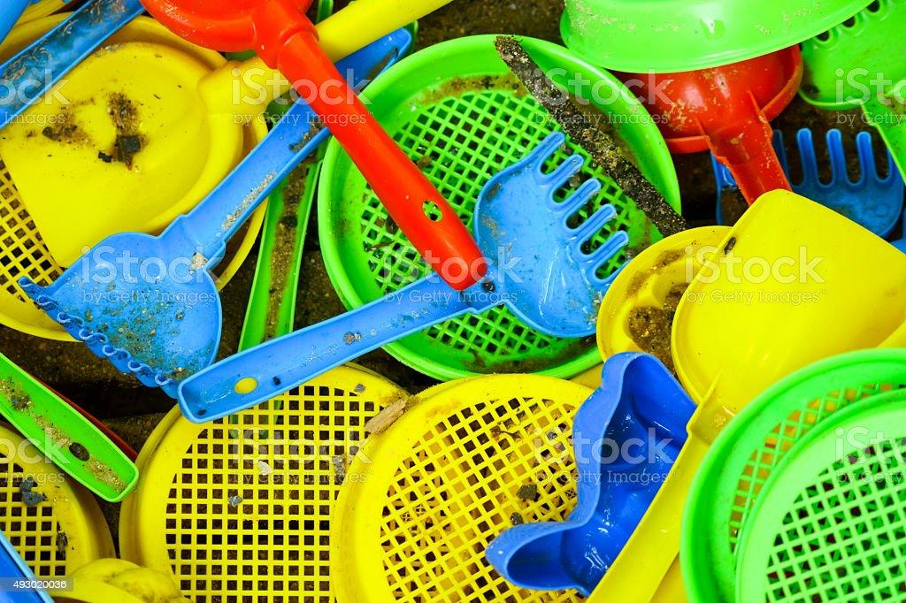 Sieve and rake toys stock photo
