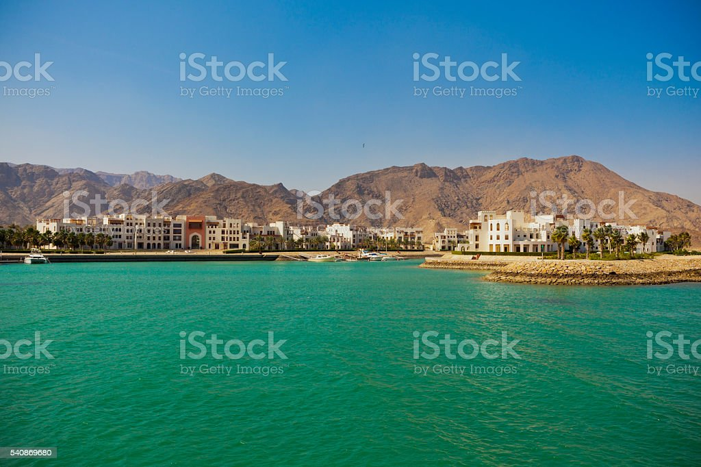 Sifah bay oman stock photo