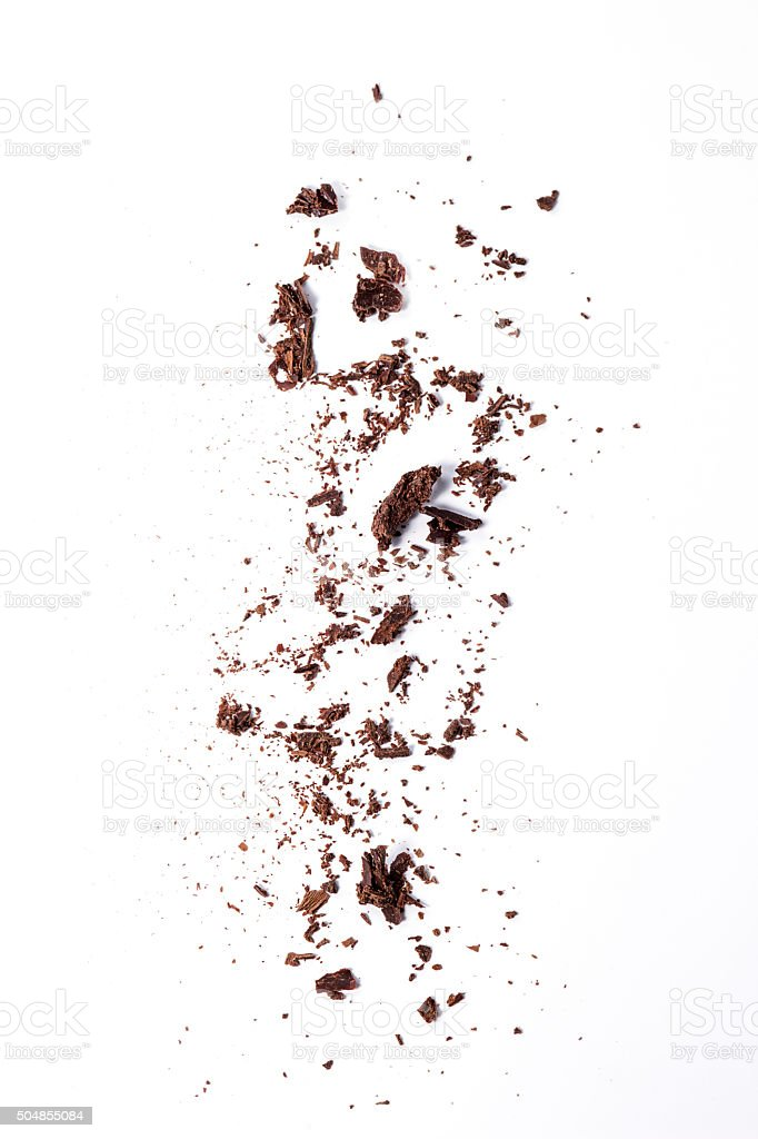 Sifting chocolate chips stock photo