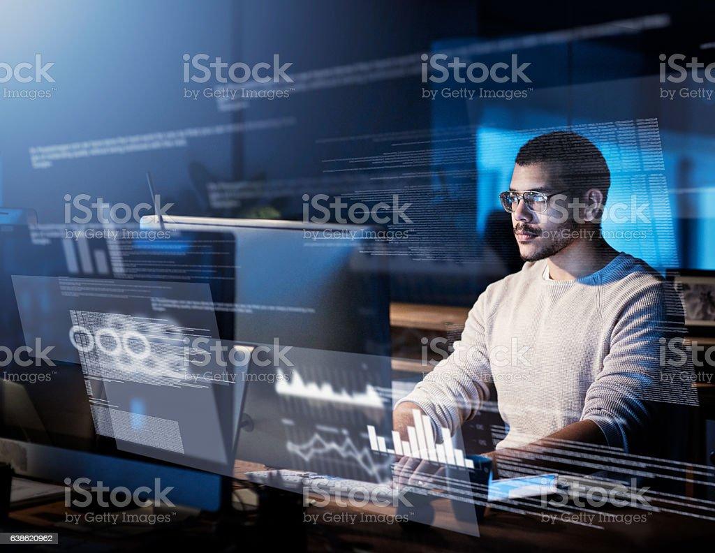 Sifting through streams of data royalty-free stock photo