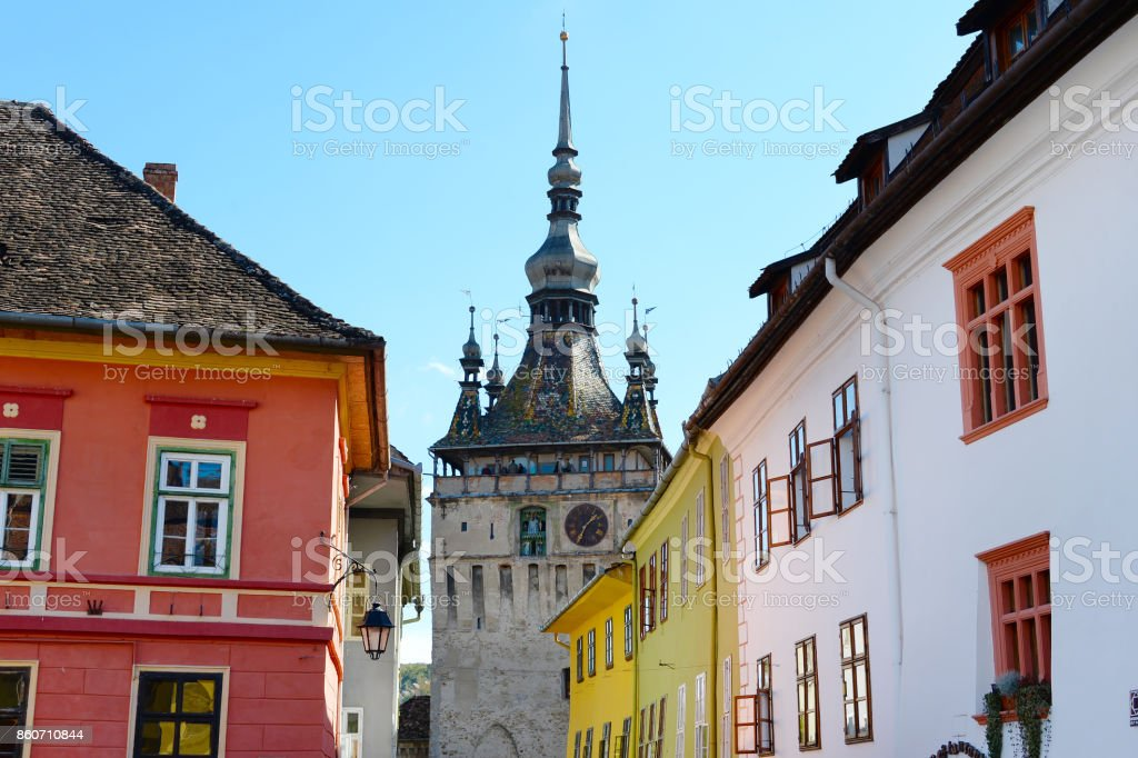Sighisoara Clock Tower, Romania stock photo