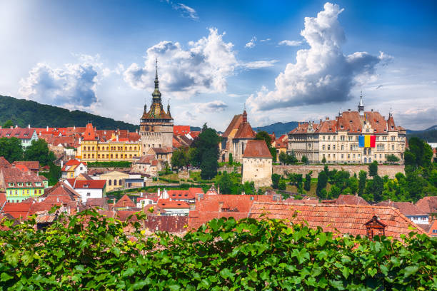 sighisoara town - romania stock pictures, royalty-free photos & images