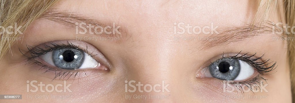 Sight of young lady stock photo