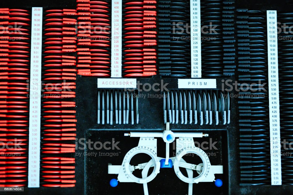 Sight testing device and optometrist equipment royalty-free stock photo