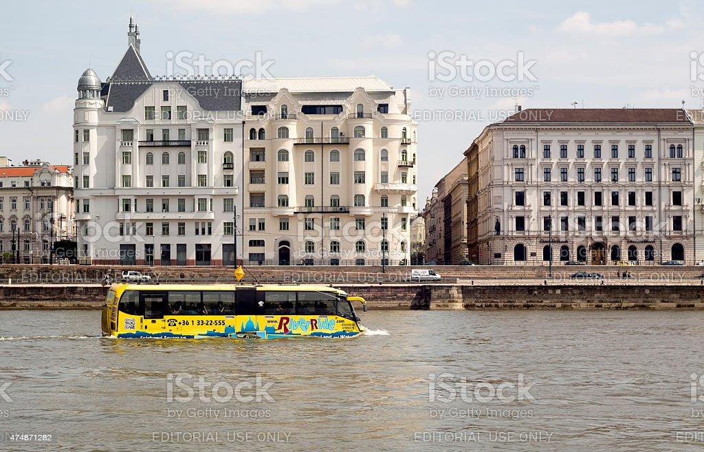 Sightseeing amphibian bus Danube stock photo
