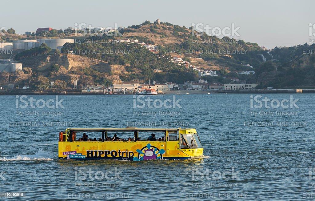 Sightseeing amphibian bus HIPPOtrip Lisboa stock photo