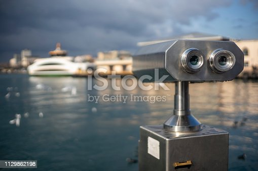 istock Sightseeing Binoculars at Kadikoy Pier, Istanbul, Turkey 1129862198