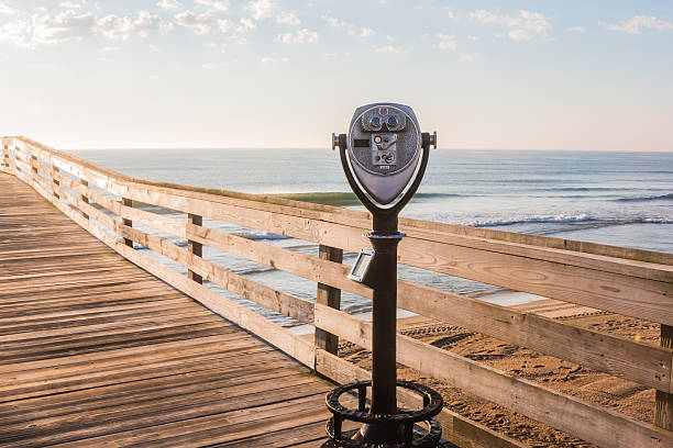 Sightseeing Binoculars on Virginia Beach Fishing Pier stock photo