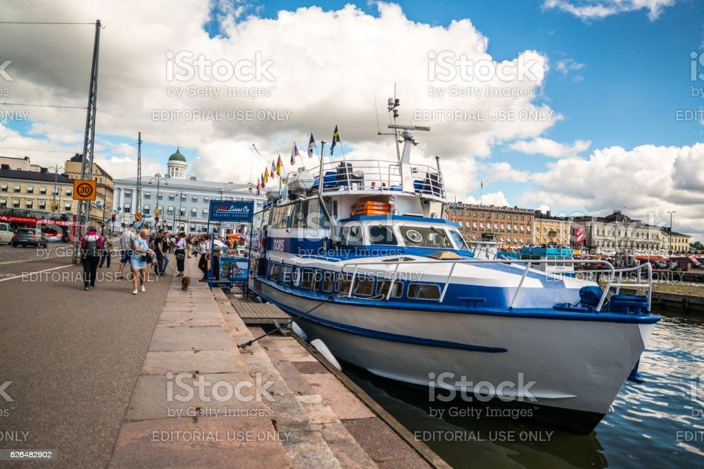 Sightseeing boat docked on Market square, Helsinki, Finland stock photo