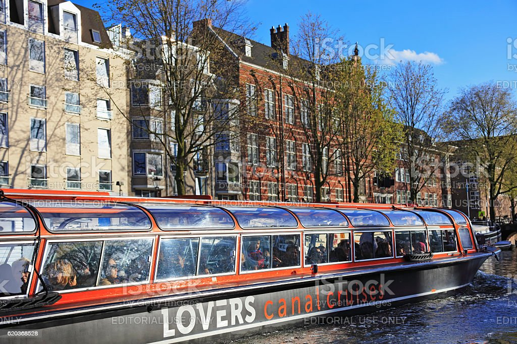 Sightseeing boat in Amsterdam, Netherlands zbiór zdjęć royalty-free
