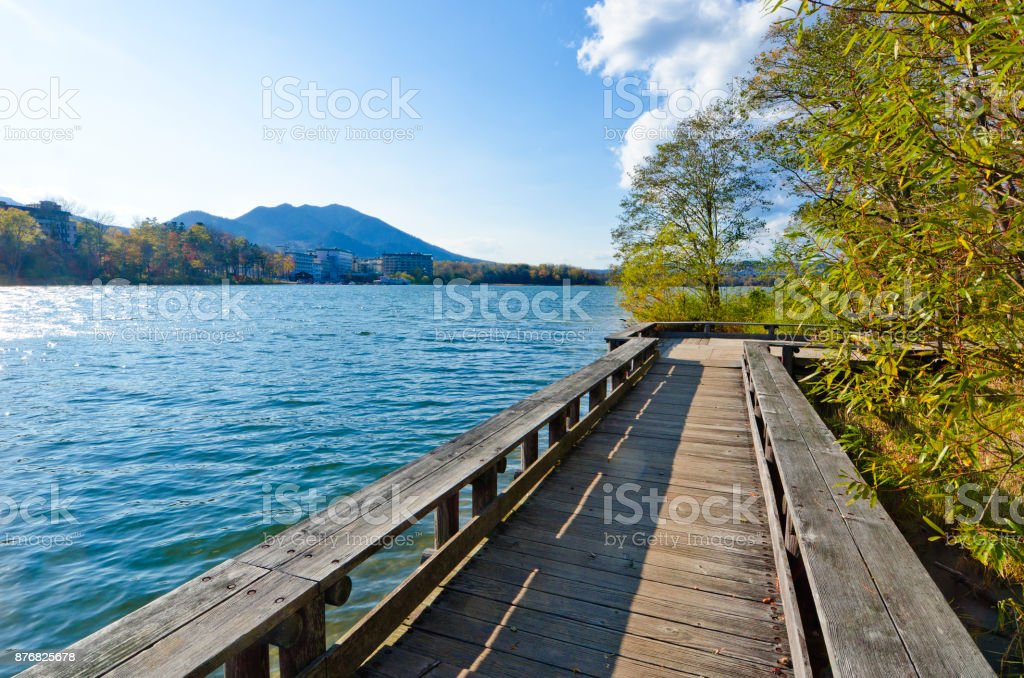 Sightseeing boat in Lake Akan, Hokkaido, Japan stock photo