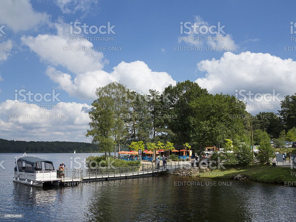 Sightseeing boat on a French lake in Limousin stock photo