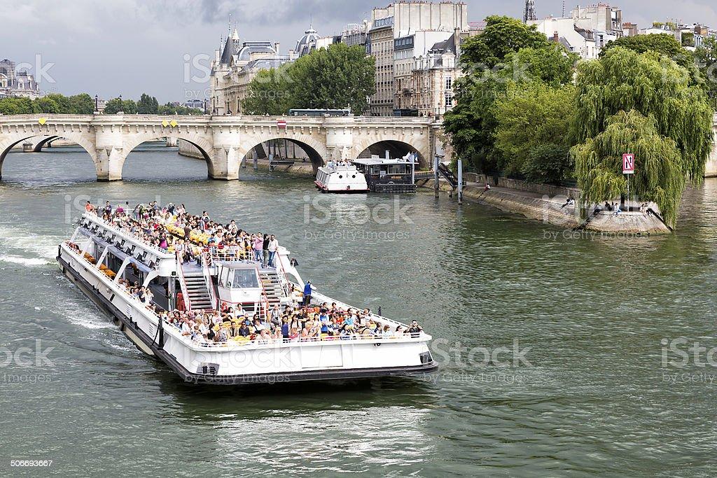 Sightseeing Boat on Seine Near Ile de Cite, Paris stock photo