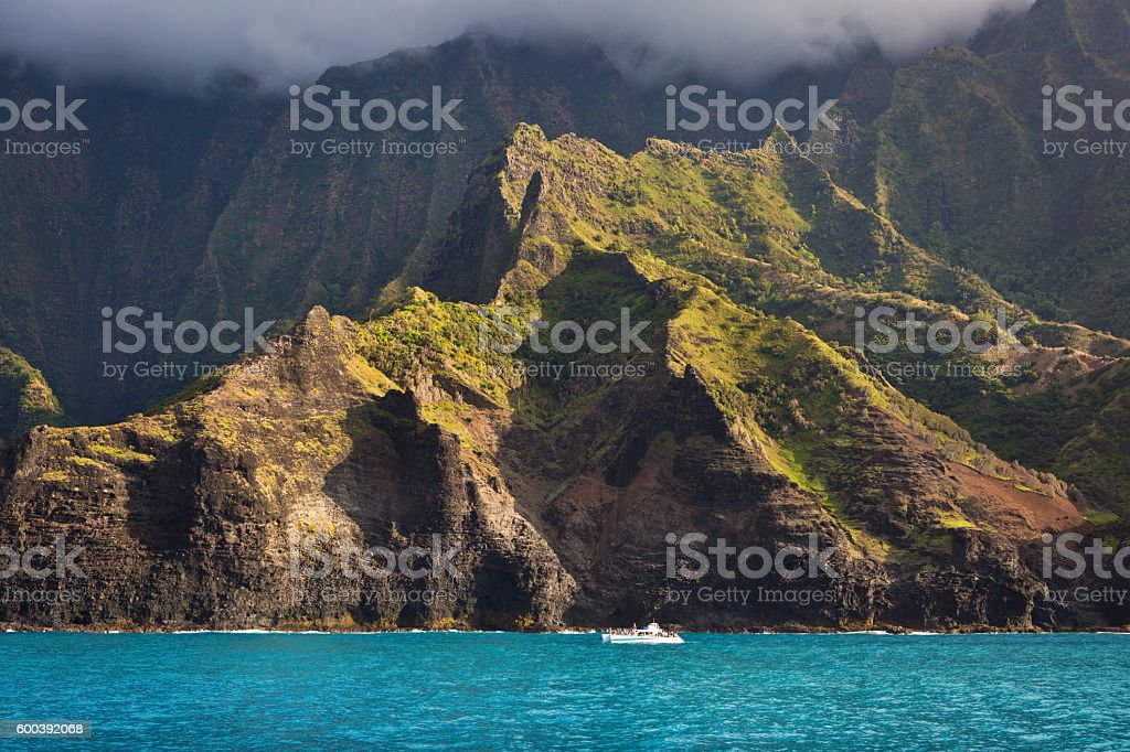 Sightseeing Boat Tour At Scenic Na Pali Coast Of Kauai Stock