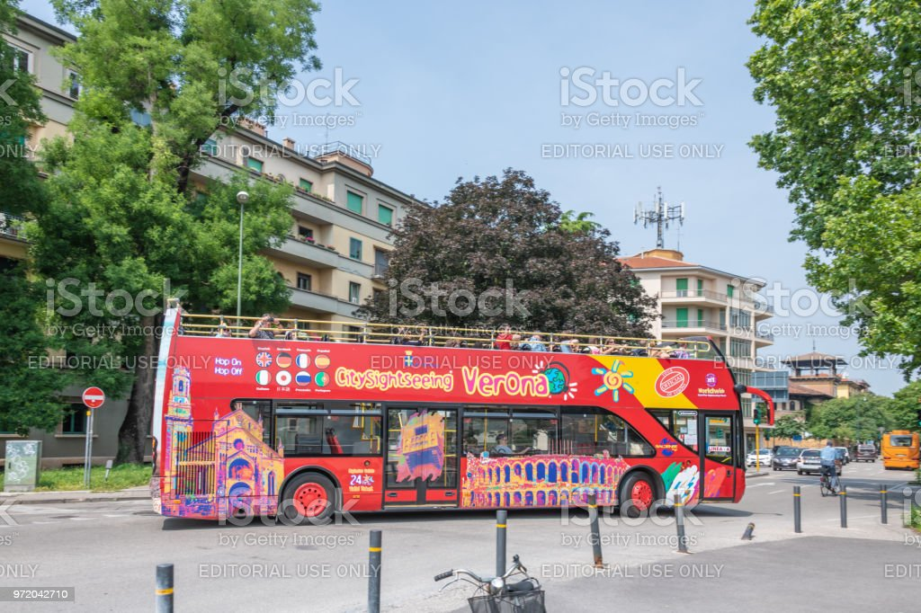 Sightseeing bus for tourists in Verona, Italy stock photo