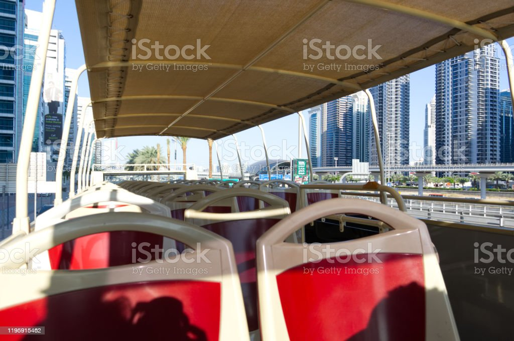 sightseeing bus Hop on hop off in Dubai sightseeing bus Hop on hop off in Dubai Bus Stock Photo