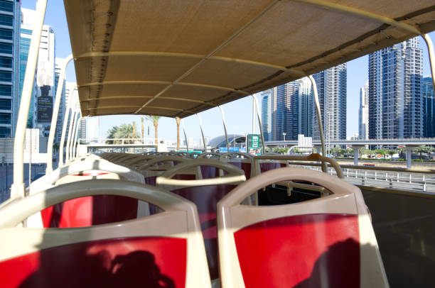 sightseeing bus Hop on hop off in Dubai stock photo