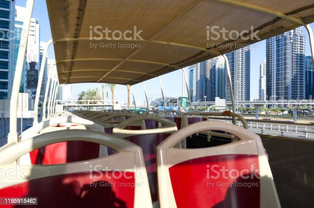 Sightseeing Bus Hop On Hop Off In Dubai Stock Photo - Download Image Now