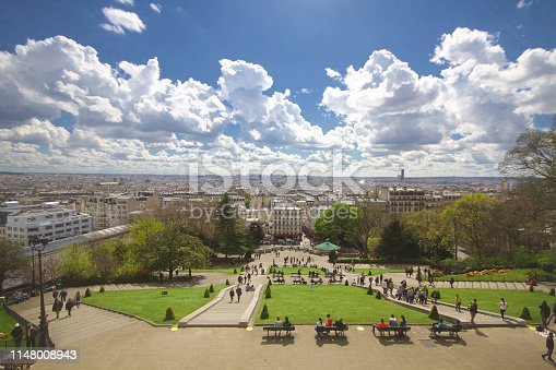 Sightseeing place attractive city landscape of Paris France, Wonderful day trip, Blue cloudy sky in front of Sacre-Coeur Basilica Church, Backgrounds
