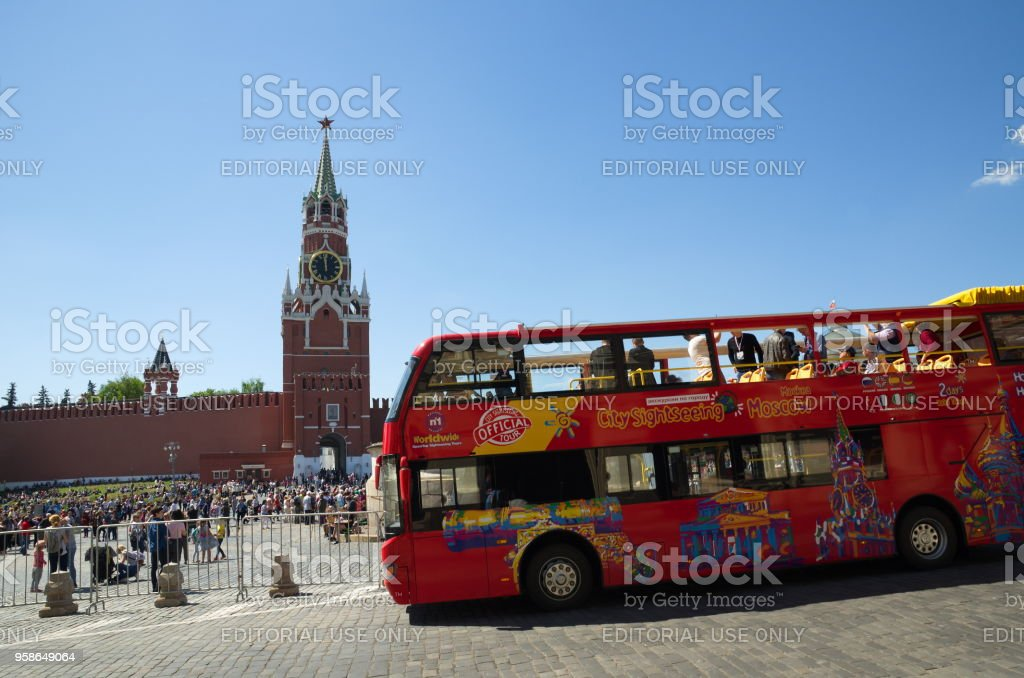 Sightseeing tour bus on Red square in Moscow, Russia stock photo