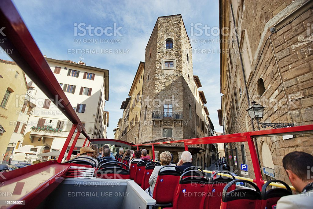 Sightseeing Tour Bus with Tourists in Florence, Italy royalty-free stock photo