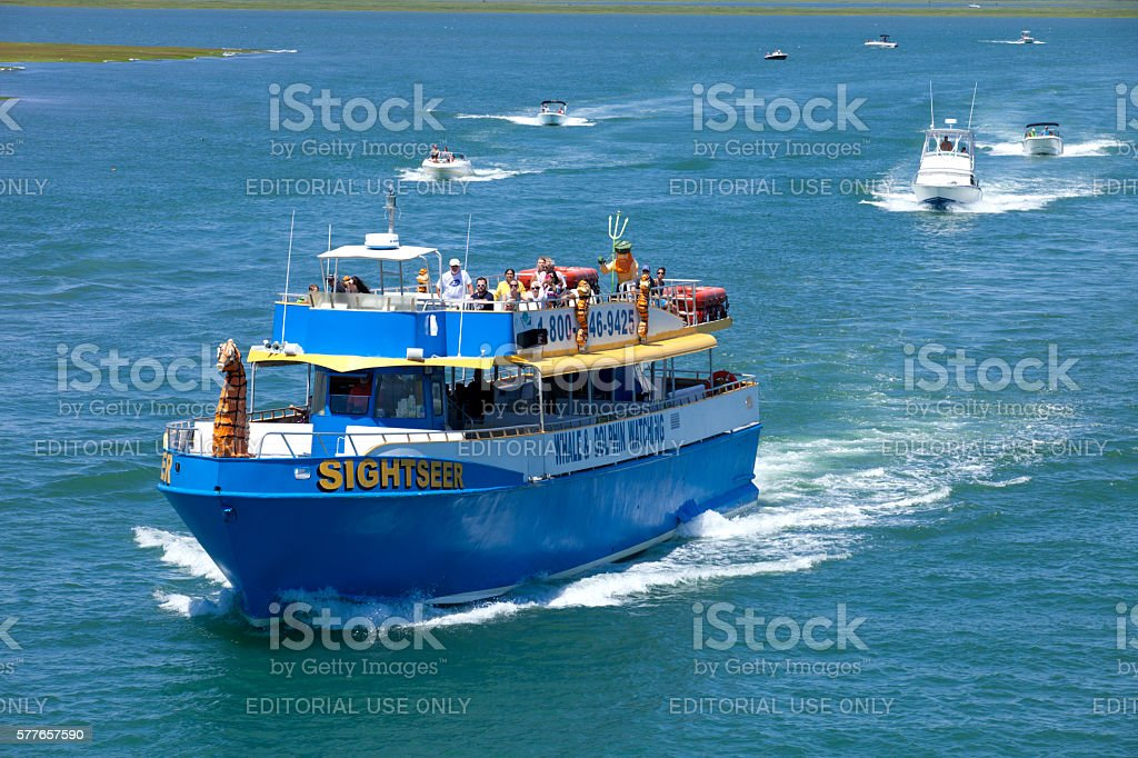 'Sightseer' Charter Fishing Boat in Wildwood, New Jersey stock photo