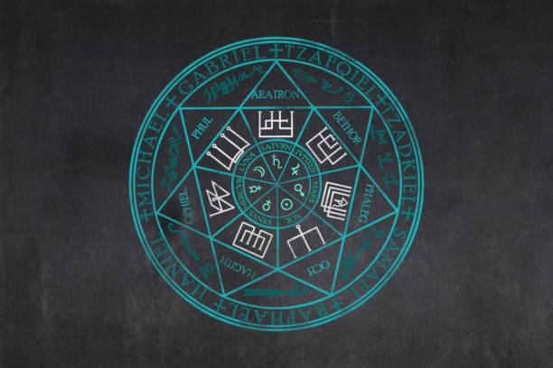 Sigil dos sete arcanjos desenhados em um quadro negro - foto de acervo