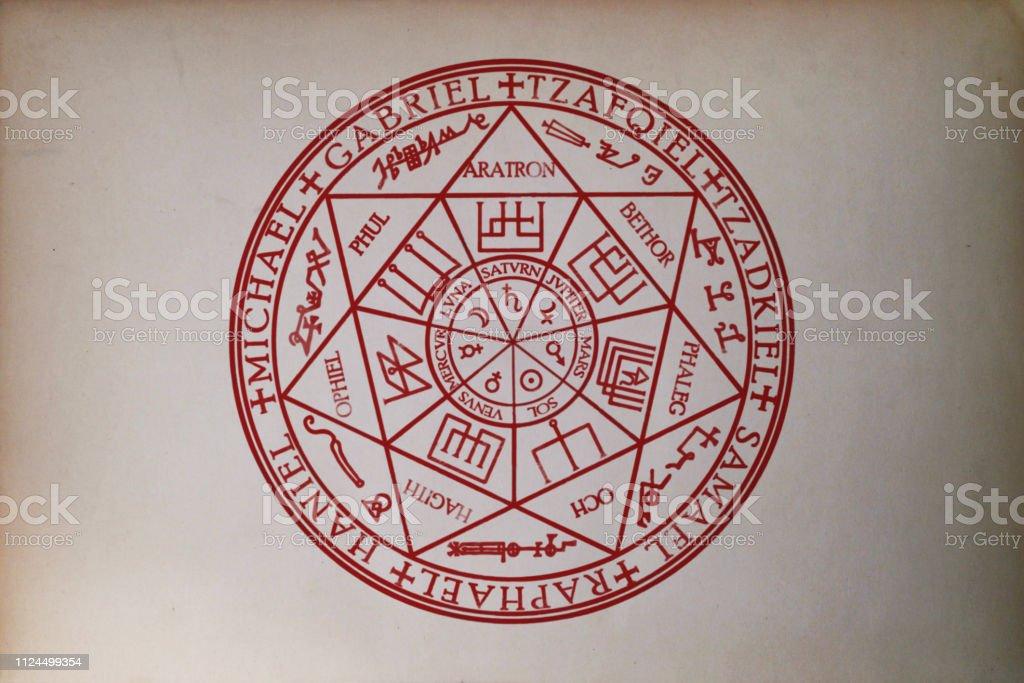 Sello de los siete arcángeles impreso en papel - foto de stock
