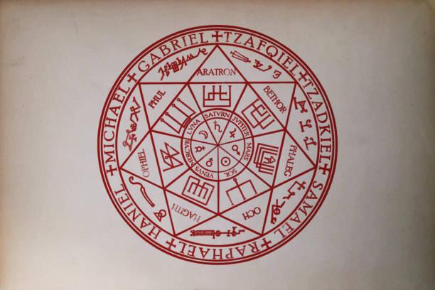 Sigil dos sete arcanjos, impresso em papel - foto de acervo