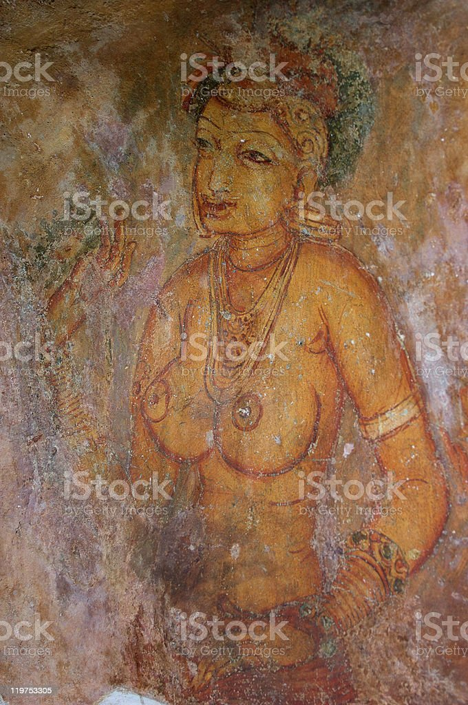 Sigiriya Fresco royalty-free stock photo