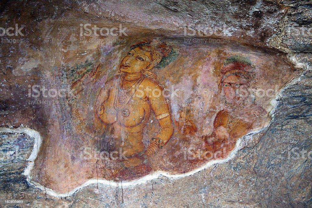 sigiriya fresco sri lanka royalty-free stock photo
