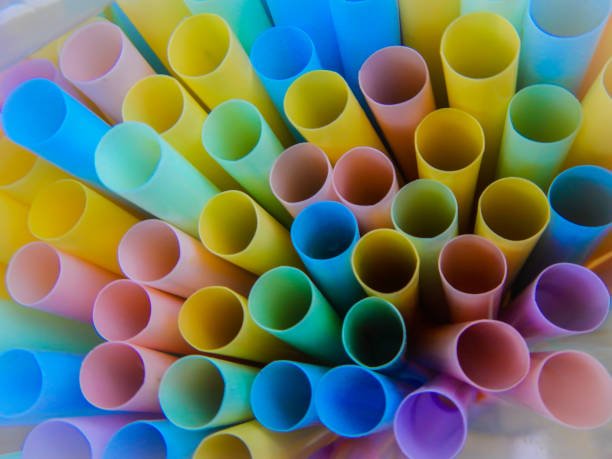Sigle use plastic items Starting in 2021, single-use plastic items such as straws, cotton buds and cutlery will be bannedin the EU! disposable stock pictures, royalty-free photos & images