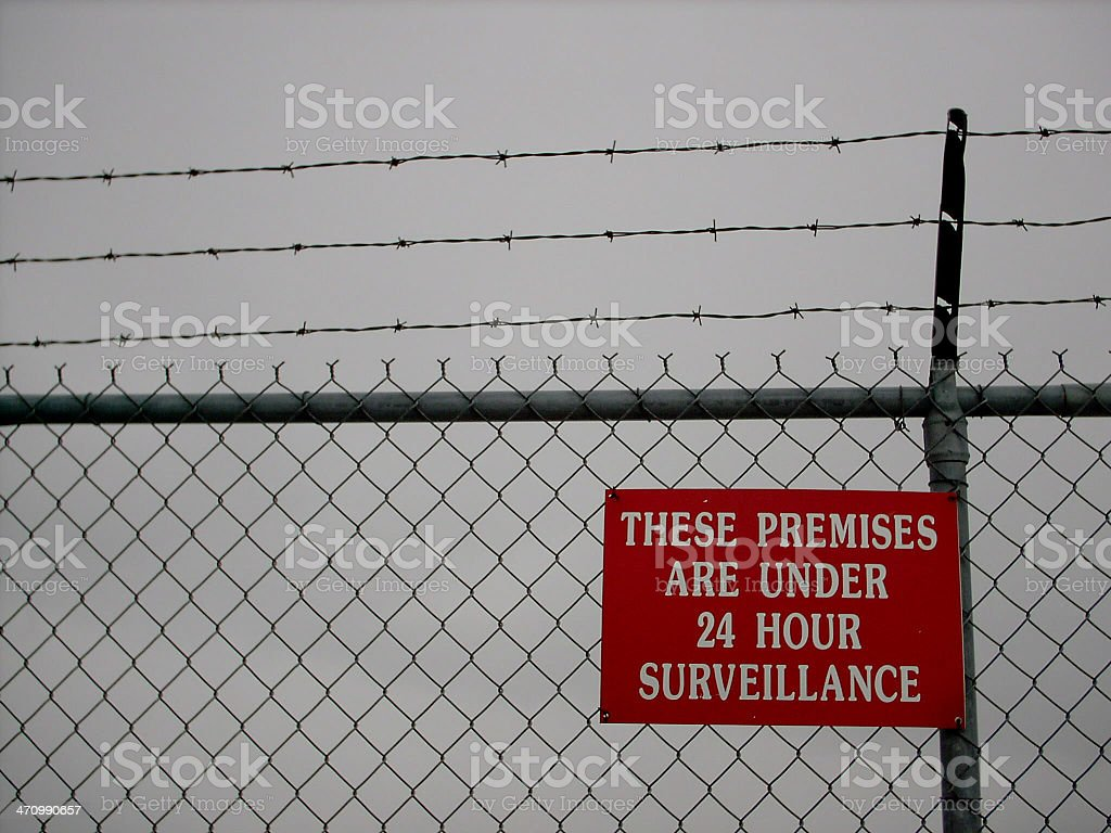Sign: 24 Hour Surveillance royalty-free stock photo