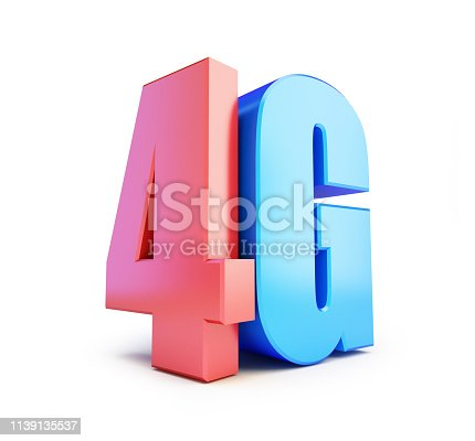 istock 4G sign, 4G cellular high speed data wireless connection. 3d Illustrations on white background 1139135537