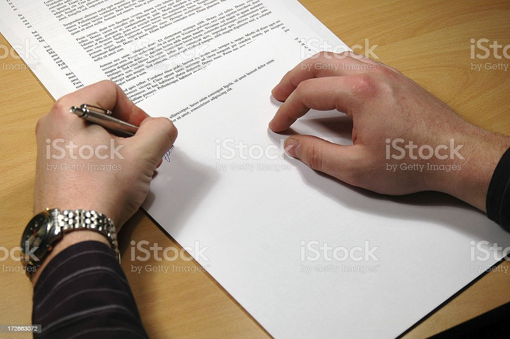 Sign a document royalty-free stock photo