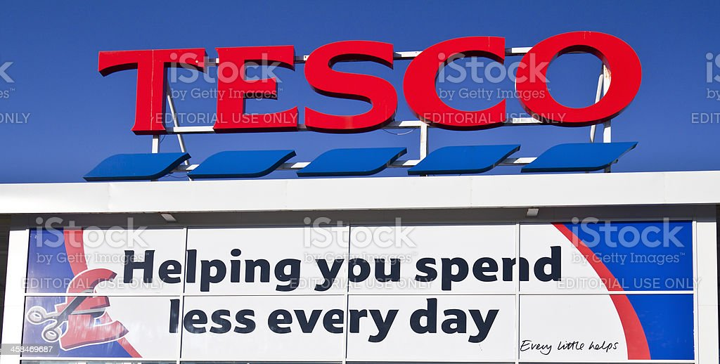 Sign Above Entrance Of A Tesco Superstore Stock Photo