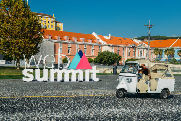 Sign advertising the World Web Summit, the largest technology convention in the world which will be held again in Lisbon, Portugal, starting Nov 5 to 8, 2018 stock photo