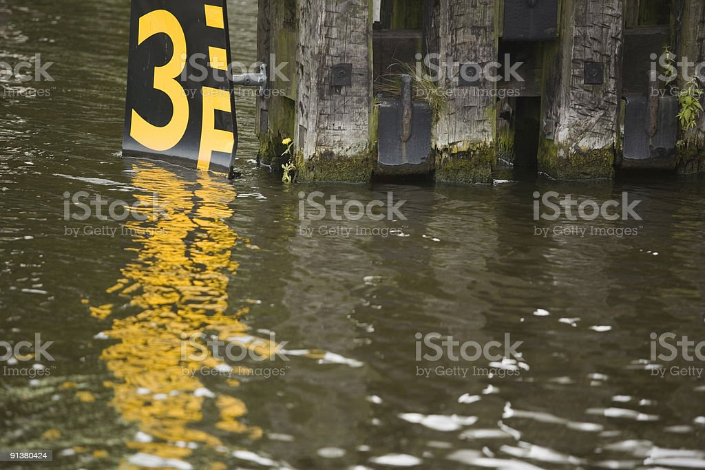 sign along a canal indicating the water level royalty-free stock photo