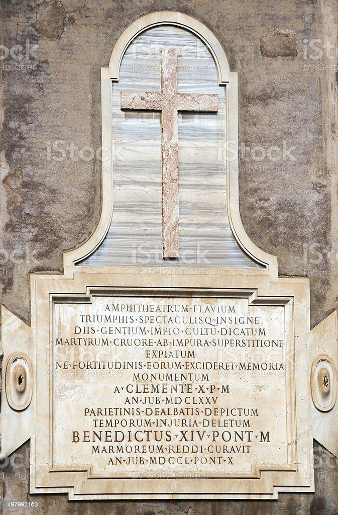 Sign Amphitheatrum Flavium, Colosseum.Rome stock photo