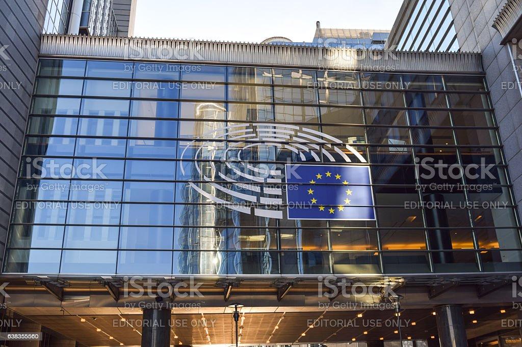 Brussels, Belgium - December 30, 2016: Sign and EU flag stock photo