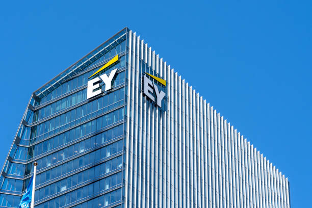 Sign and logo of EY on EY Tower in downtown Toronto. stock photo