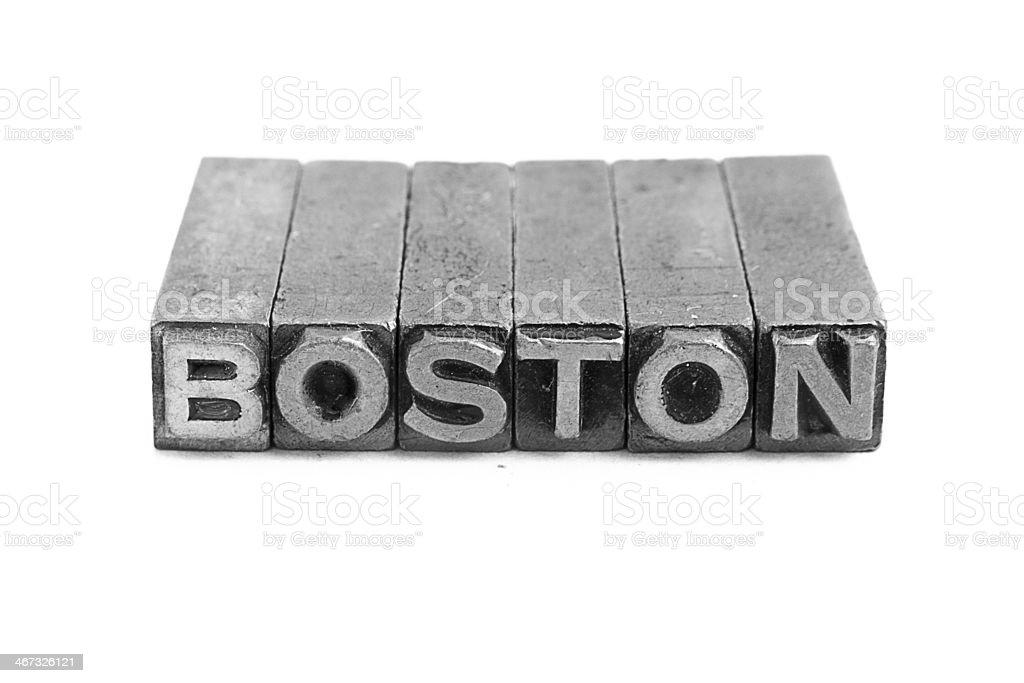 BOSTON sign, antique metal letter type royalty-free stock photo
